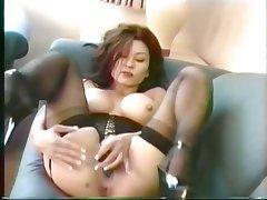 Masturbation, Brunette, Pantyhose, Mature, Asian