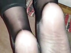 Cumshot, Mature, Foot Fetish, Pantyhose, Mistress